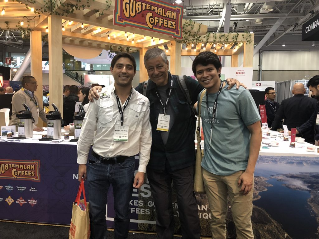 Rafa Ventura of Finca Rabanales in Guatemala -- Jairo Blanco of Logical Machines -- and Christian, Rafa's business Guatemalan partner, who's finishing up his business degree in Boston...during the 2019 Specialty Coffee Expo in Boston