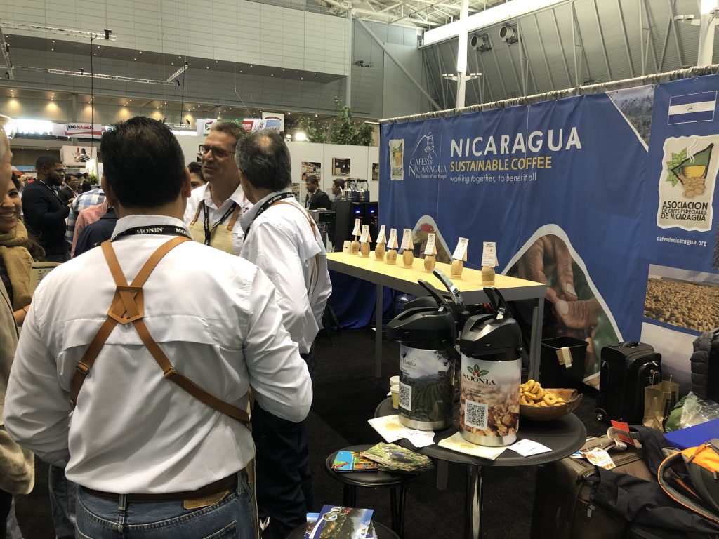 The Nicaraguan Coffee booth at the 2019 Specialty Coffee Expo in Boston