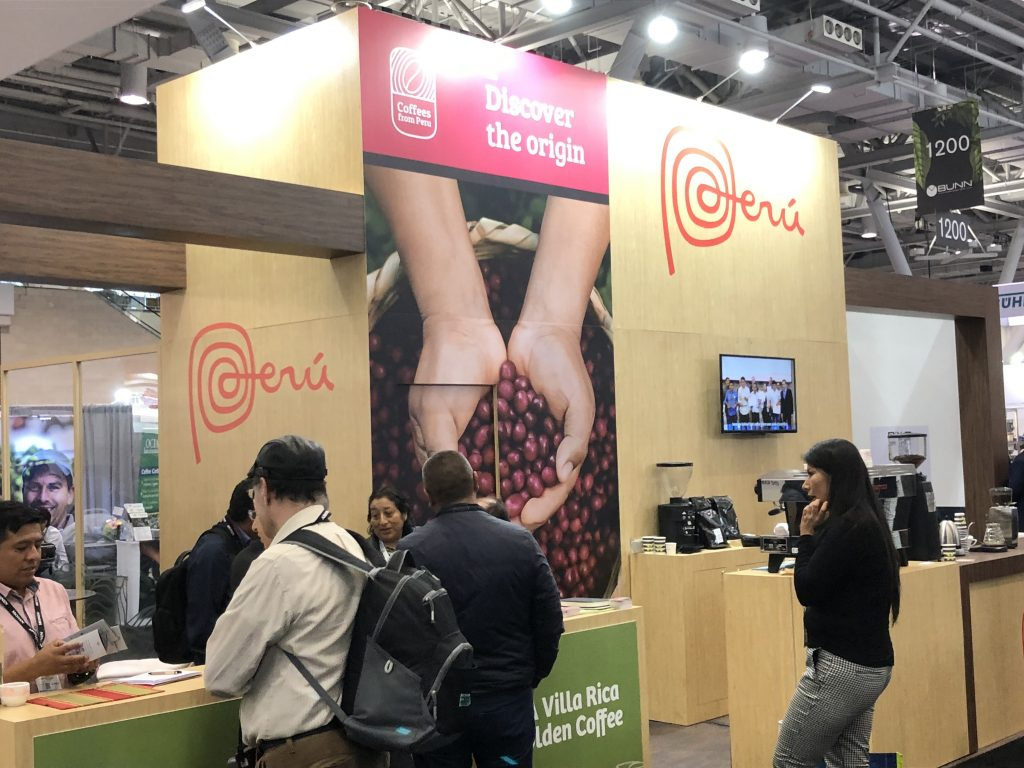 The Peruvian coffee booth at the 2019 Specialty Coffee Expo booth in Boston