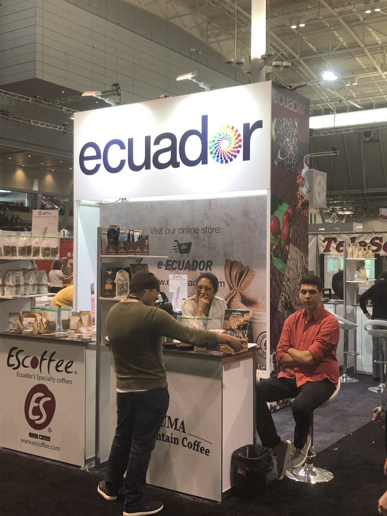 The Ecuador coffee booth at the 2019 Specialty Coffee Expo in Boston